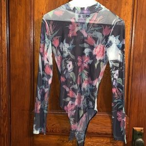 Flower print long sleeve bodysuit
